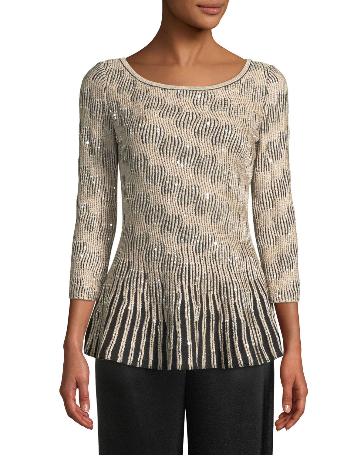 3/4-Sleeve Sequin Trellis Knit Peplum Sweater