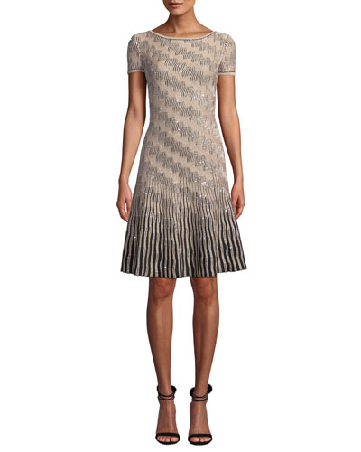 Sequin Inlay Trellis Knit Short-Sleeve A-line Dress