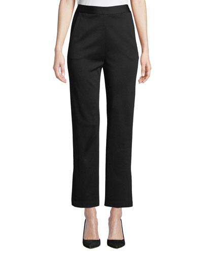 Side-Slit Straight-Leg Cropped Milano Knit Pants