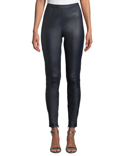 Stretch Napa Leather Cropped Leggings w/ Ankle Zippers