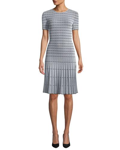 Jewel-Neck Short-Sleeve Monochrome Ottoman Knit Fit-and-Flare Dress