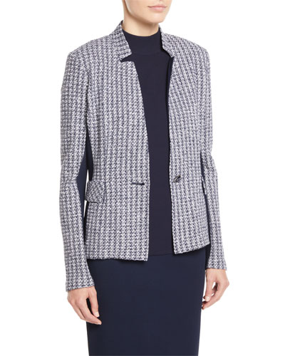 Geometric Knit Jacket w/ Luxe Knit Contrast