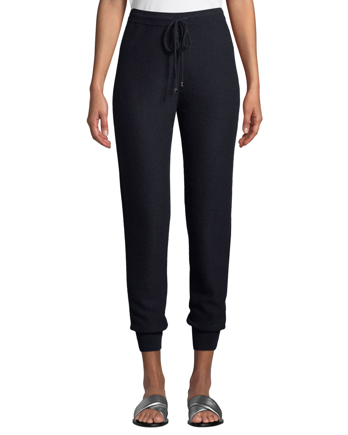 Cashmere Float Jacquard Knit Jogger Pants in Navy