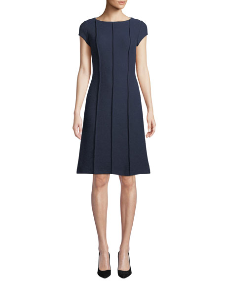 St. John Collection Ana Bateau-Neck Cap-Sleeve Boucle Knit A-Line Dress