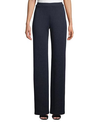 High-Rise Straight-Leg Metallic-Knit Pants