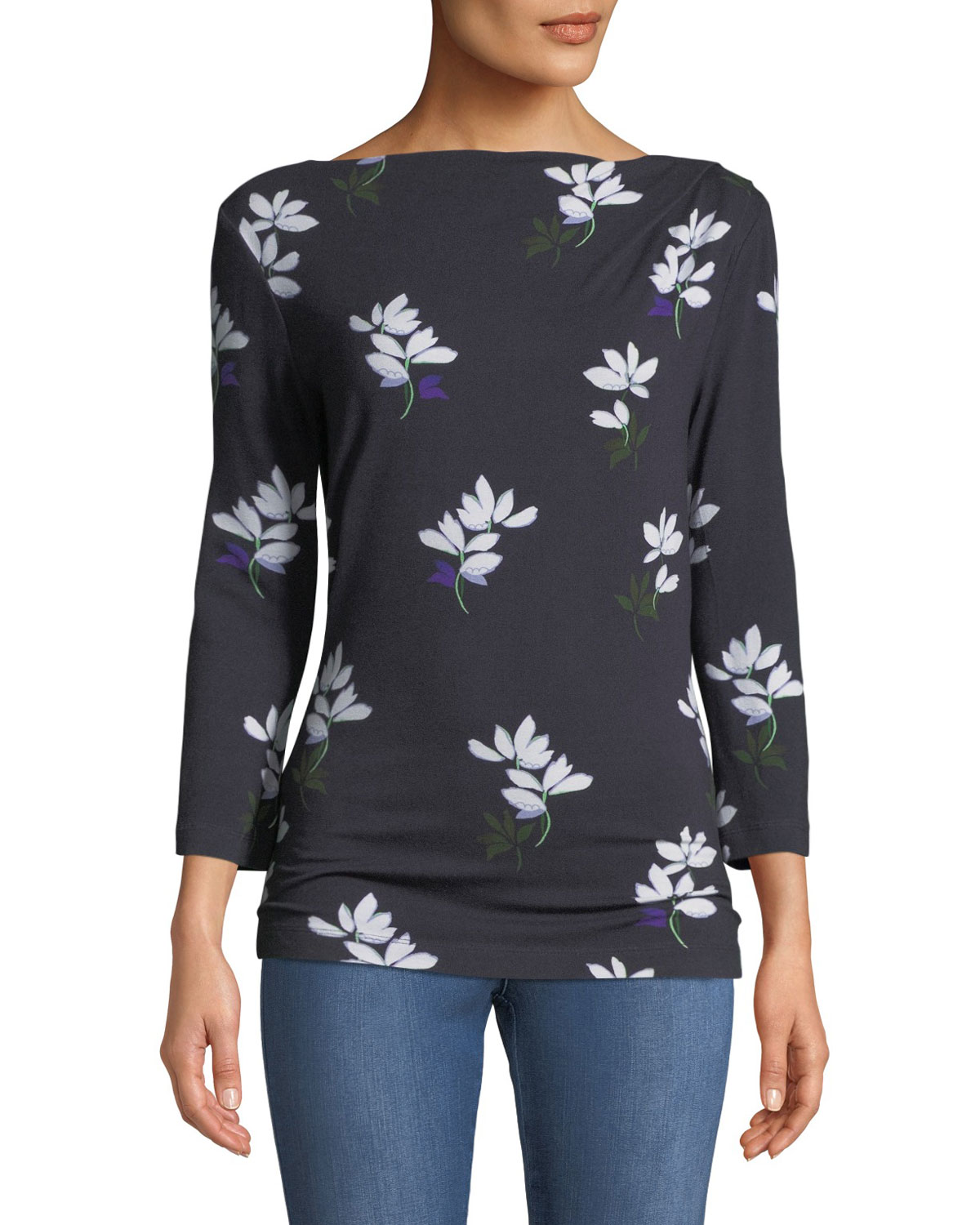 3/4-Sleeve Painted Floral Jersey Drape T-Shirt in Navy Multi