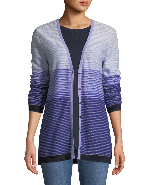 Ombre Stripes Button-Front Sequin Cashmere-Knit Cardigan