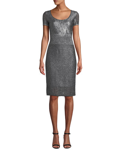 Scoop-Neck Short-Sleeve Metallic-Plaited Body-Con Dress