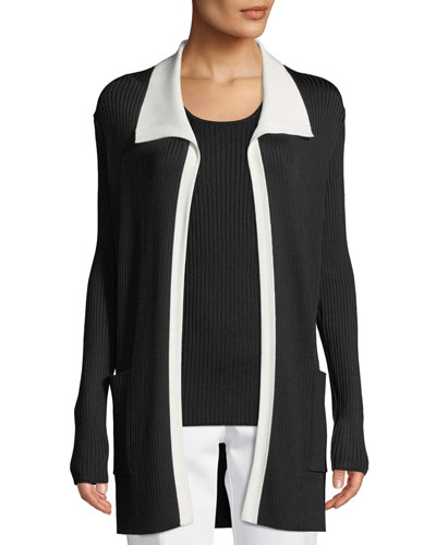 Collared Ribbed Long Cardigan