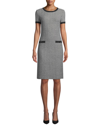 Short-Sleeve Herringbone Knit Dress