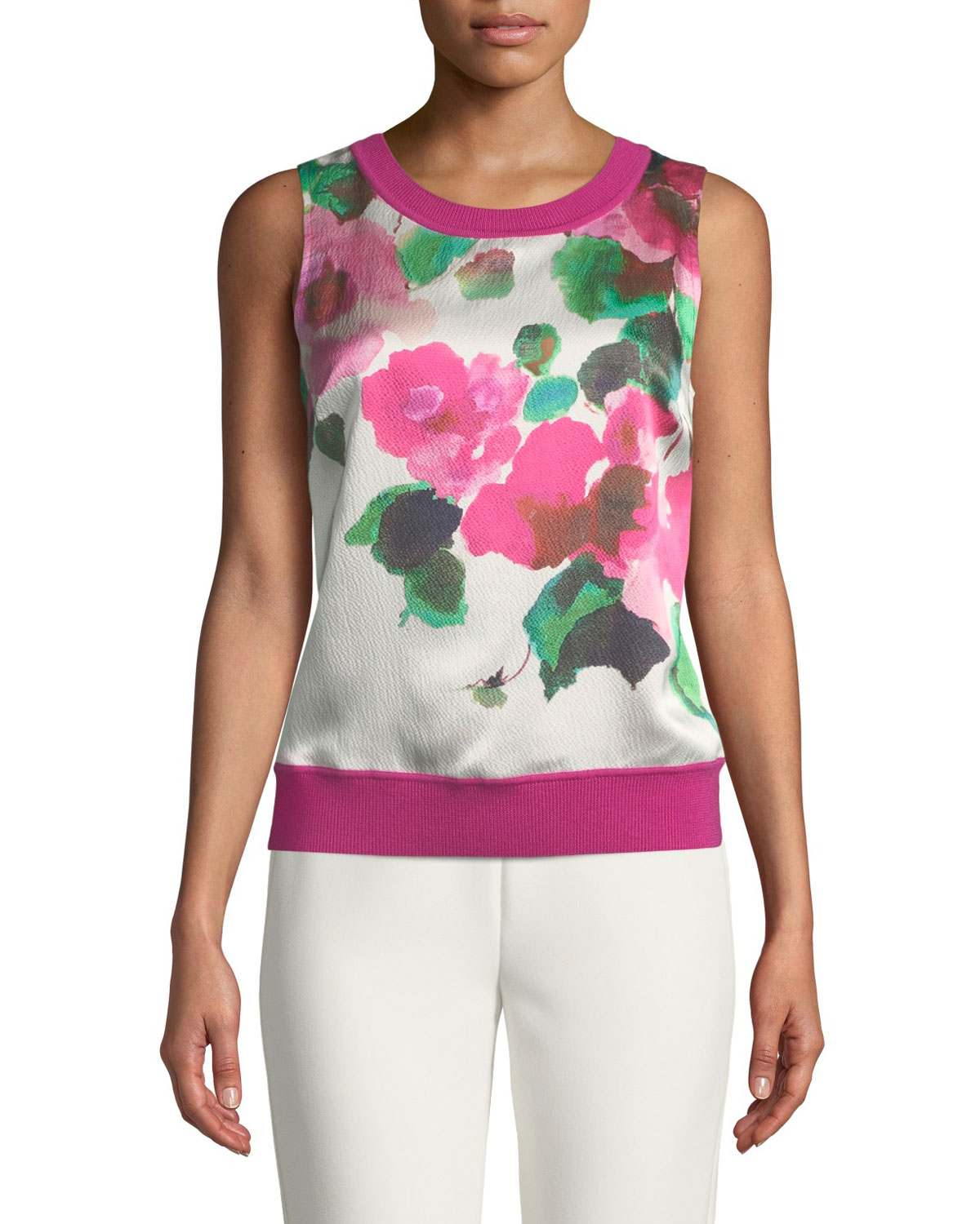 Merino Jersey Knit Shell Top with Floral Silk Panel