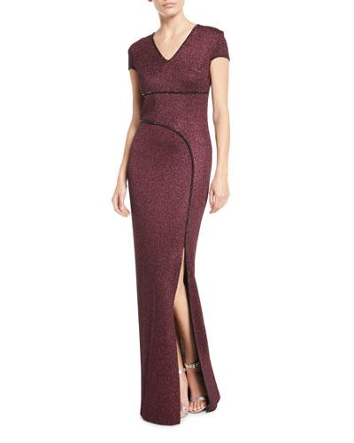 Mod Metallic Knit Cap-Sleeve Column Gown