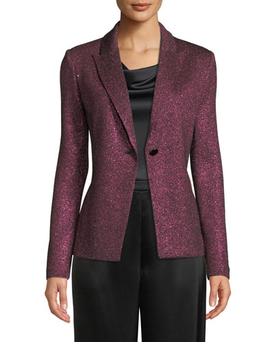 Metallic Knit One-Button Jacket w/ Sequins