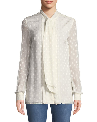 Rectangle-Devore Tie-Neck Long-Sleeve Silk Blouse w/ Pleats