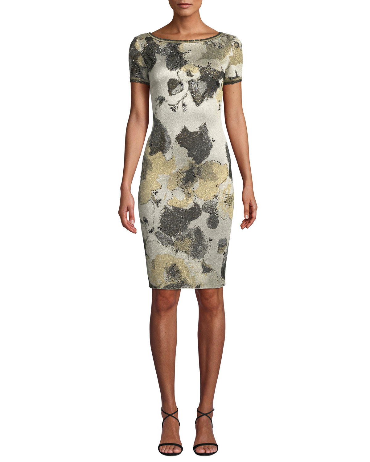 Gold-Leaf Jacquard Short-Sleeve Sheath Dress