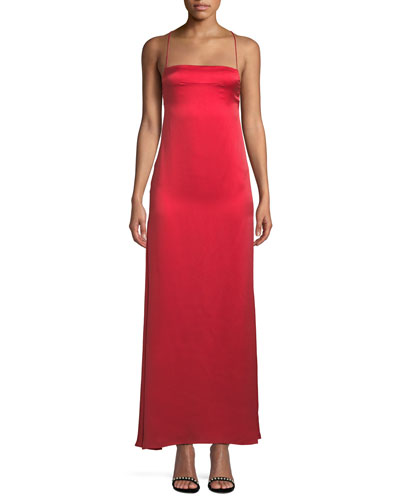 0715db0d50d Quick Look. Fame and Partners · The Adley Slip Gown Dress in Sand-Washed  Silk. Available in Red