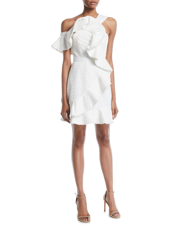 One-Shoulder Asymmetric Ruffle Dress