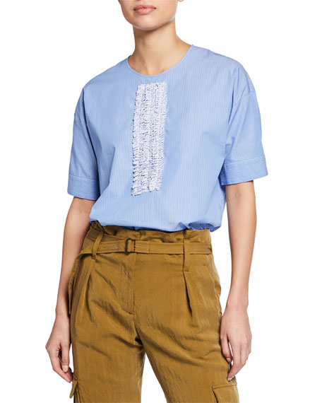 No. 21 Short Sleeve Top With Front Ruffle Detail