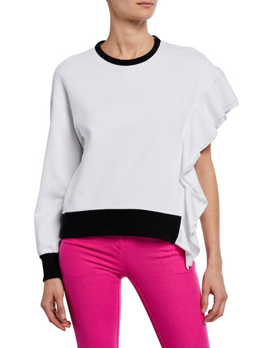 Asymmetric Ruffled Sweatshirt