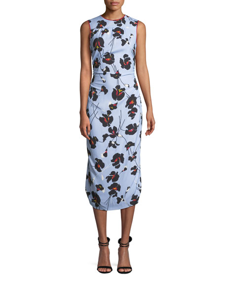 No. 21 Floral-Print Sleeveless Midi Dress