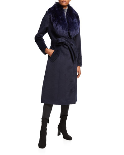 Long Coat w/ Removable Suri Alpaca Fur Collar