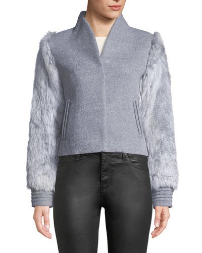 Baby Alpaca Wool Bomber Jacket w/ Fur Sleeves