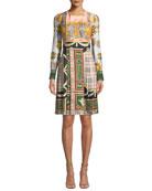Burberry Isidora Archive Scarf-Print Silk Dress