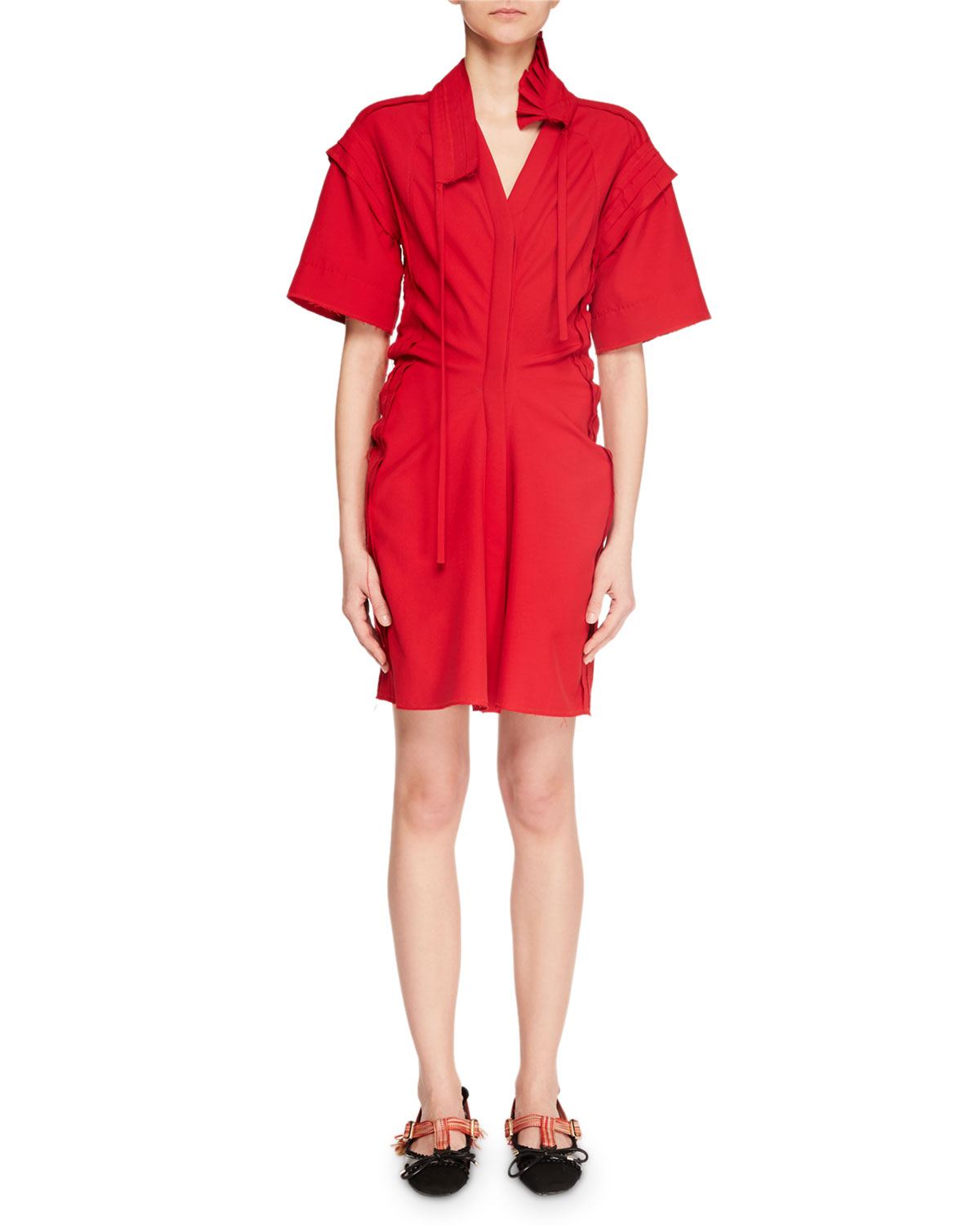 Pleated Raw-Edge V-Neck Shirtdress