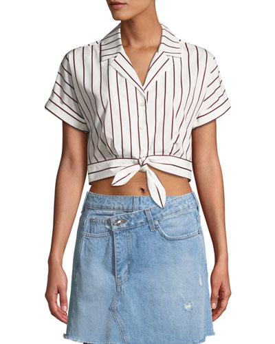 Striped Short-Sleeve Tie-Waist Cropped Shirt