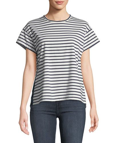 Striped Crewneck Tee with Satin Side Placket