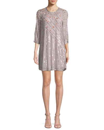Alejandra Round-Neck 3/4-Sleeve Beaded Shift Cocktail Dress