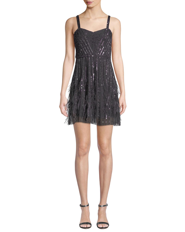 Jordanna Mini Cocktail Dress w/ Feathers & Beads