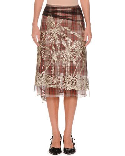 Plaid A-Line Embellished Tulle Skirt