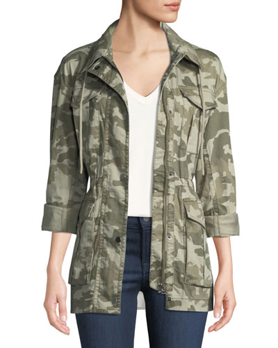 Field Camo Zip-Front Utility Jacket with Stowaway Hood