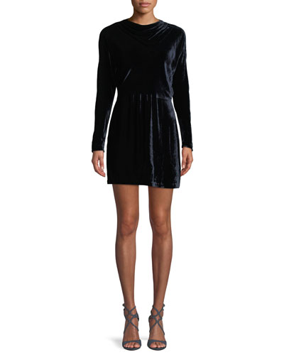 Marin Short Long-Sleeve Cowl-Neck Velvet Dress