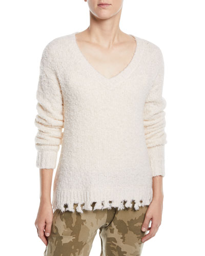 Alpaca-Blend Destroyed V-Neck Sweater