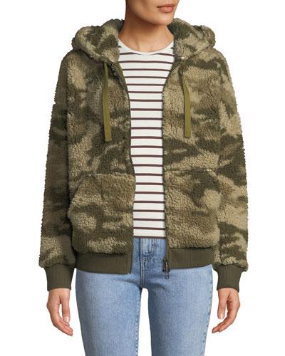 Camo-Print Sherpa Zip-Front Hoodie