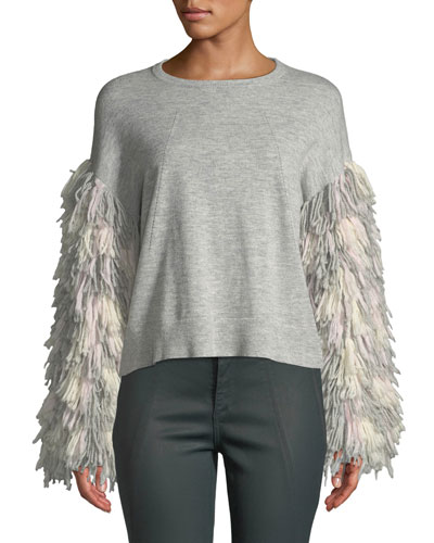 Berber Fringe-Sleeve Crewneck Sweater