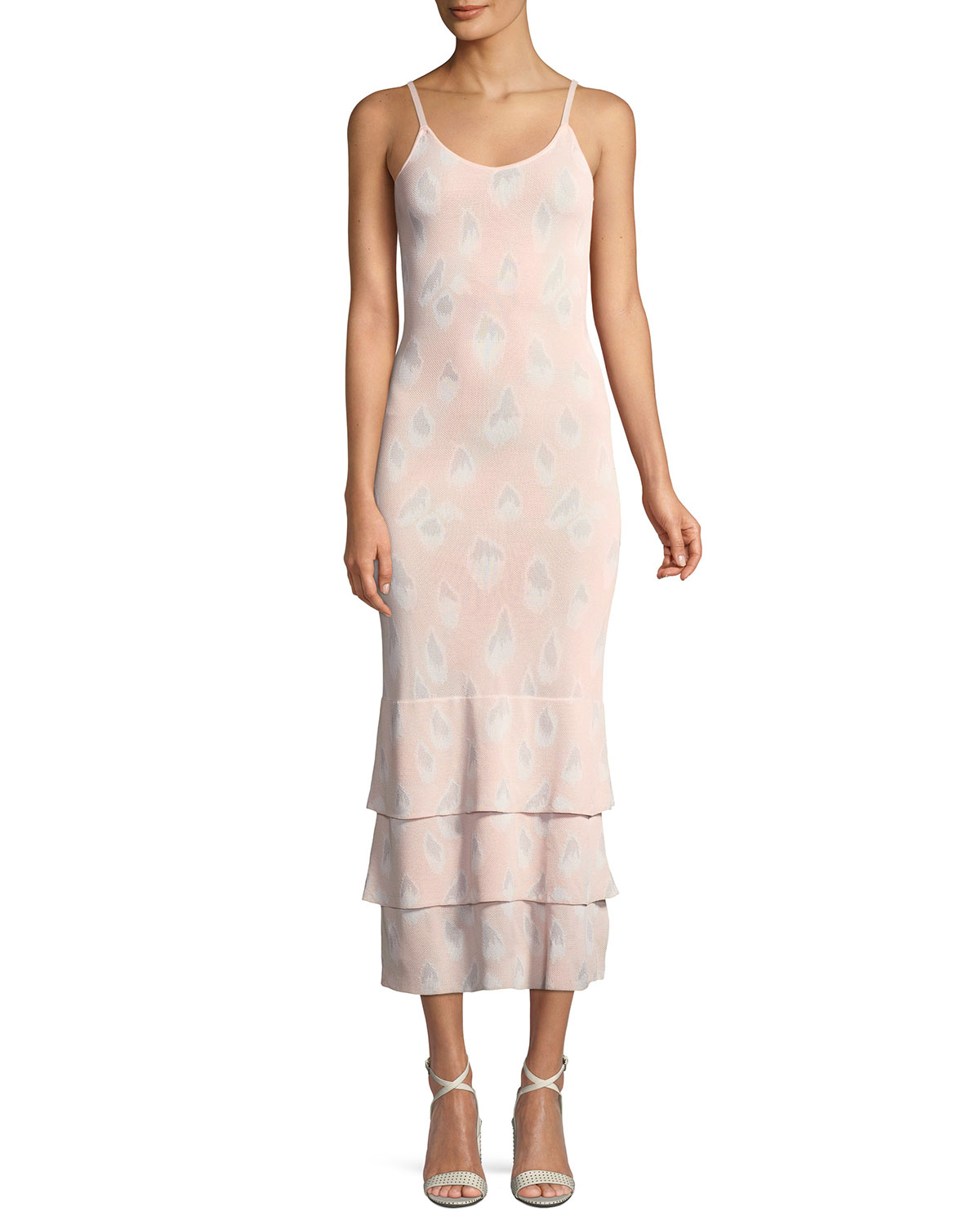 Aures Scoop-Neck Printed Slip Dress w/ Tiered Hem