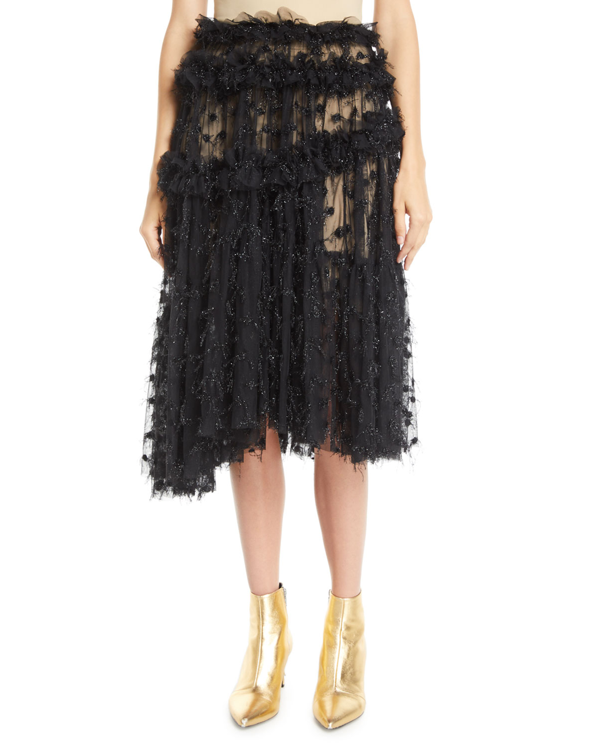 Twinkle Shimmery Pleated Ruffle Tulle Skirt