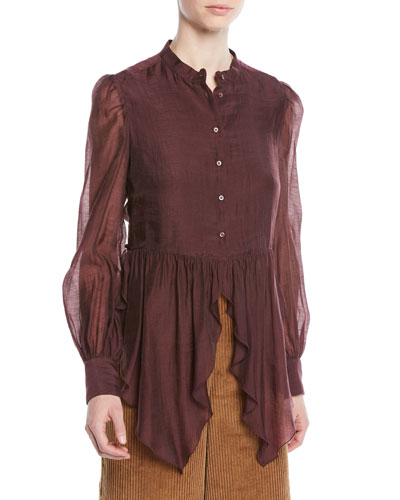 Long-Sleeve Cascading Ruffle Bottom Blouse