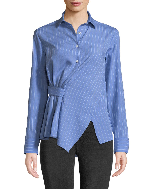 Asymmetric Striped Button-Front Shirt