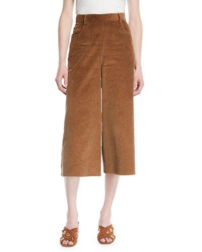 Wide-Leg Corduroy Cropped Pants
