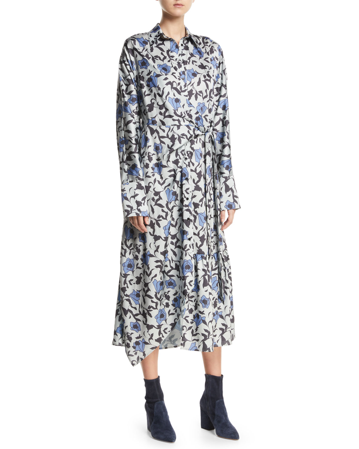 CHRISTIAN WIJNANTS Dabba Floral-Print Button-Front Shirtdress in Black Pattern