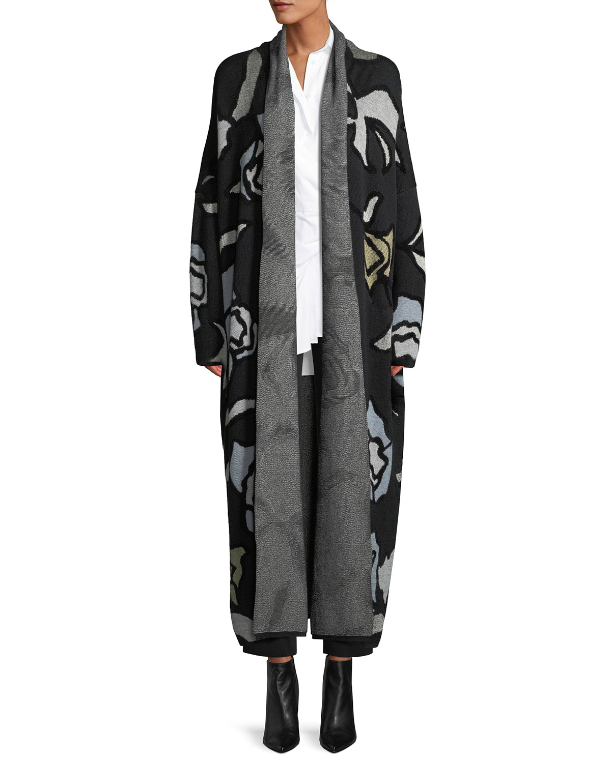 CHRISTIAN WIJNANTS Kavia Open-Front Floral-Jacquard Long Cardigan in Black Pattern