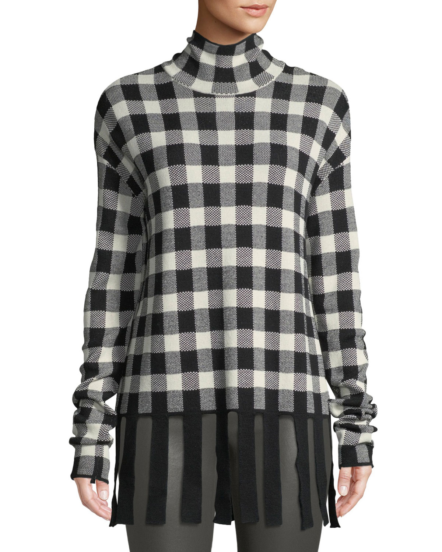 CHRISTIAN WIJNANTS Kadiha Check Turtleneck Sweater W/ Fringe in White Pattern