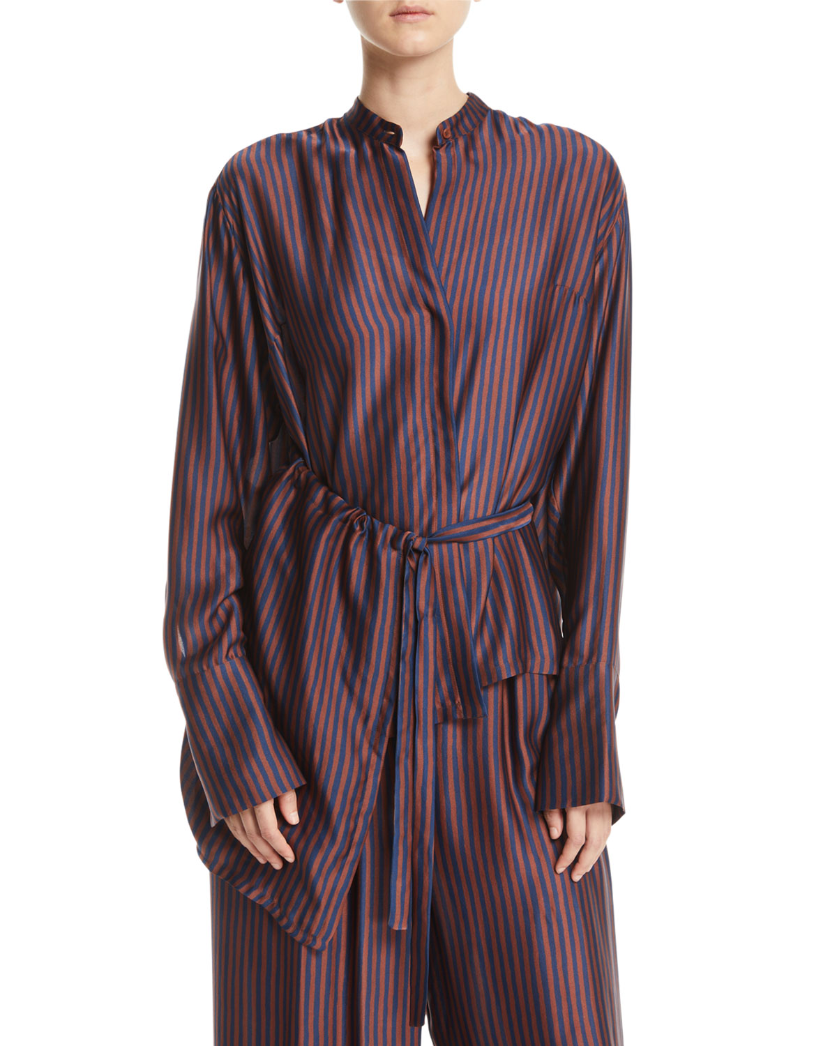CHRISTIAN WIJNANTS Tipha Striped Silk Belted Top in Brown