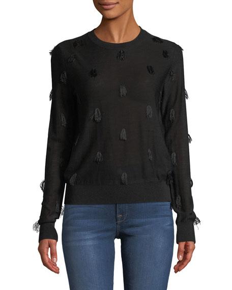 Christian Wijnants Kohino Crewneck Pullover Sweater w/ Fringe Details
