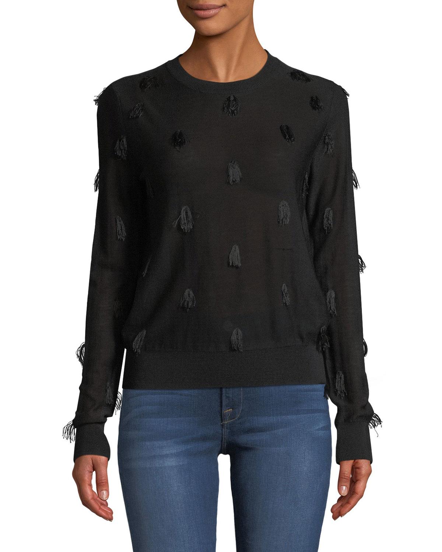 CHRISTIAN WIJNANTS Kohino Crewneck Pullover Sweater W/ Fringe Details in Black