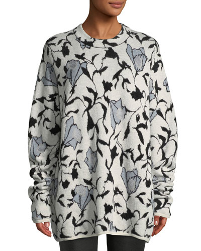 Killa Crewneck Floral-Jacquard Sweater